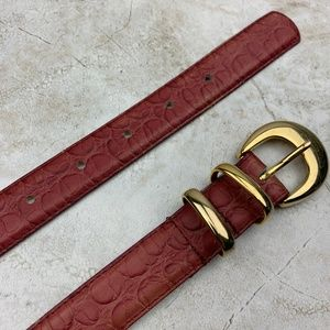 VINTAGE — GENUINE LEATHER — Pink Croco Belt — S